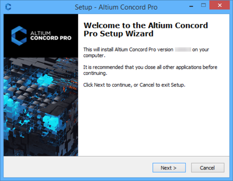 Initial welcome page for the Altium Concord Pro Setup wizard.