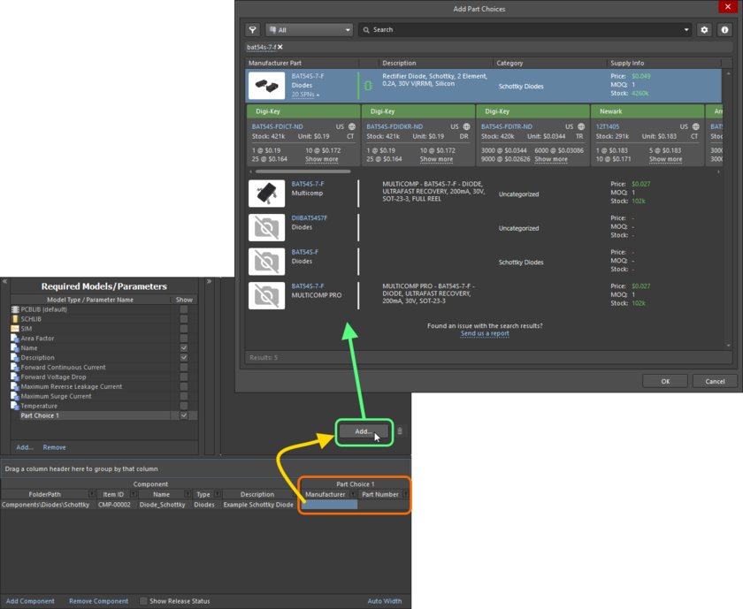 Making a part choice - use the Add Part Choices dialog to search for the required manufacturer part, select its entry and click OK.