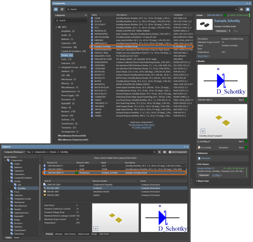 A released component can be found and used from the Components panel, or the Explorer panel.