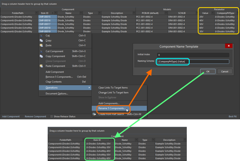 An example of the use of the CompanyPrtType and Value parameters in a naming template, to quickly rename selected components being defined in the Component Editor.