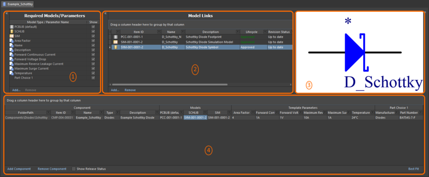The Component Editor, when switched to operate in its Batch Component Editing mode, can be divided into four key regions.