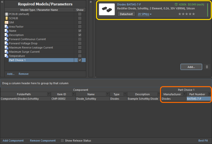 Example part choice - added through use of the Add Part Choices dialog - presented back in the Component Editor.