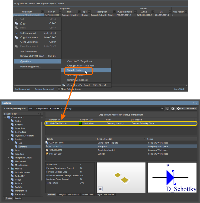 Jump to an already released managed component in the Explorer panel, directly from the Component Editor when you have that component revision oped for editing.