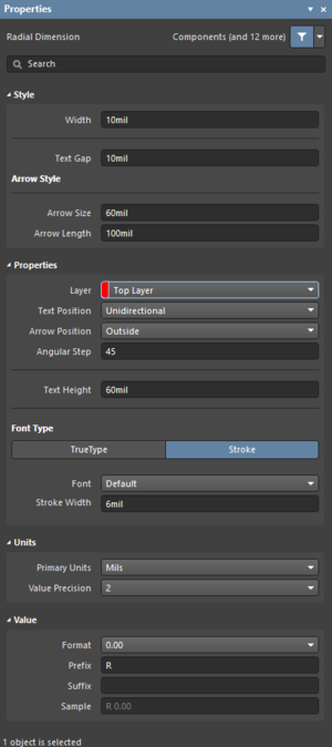 The Radial Dimension dialog on the left and the Radial Dimension mode of the Properties panel on the right