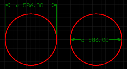 Placed Linear Diameter Dimensions.