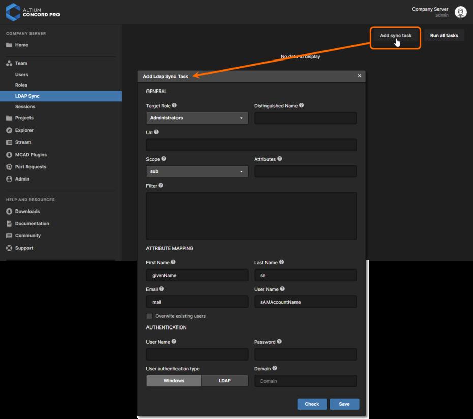 Добавление новой задачи LDAP-синхронизации через веб-интерфейс Altium Concord Pro.