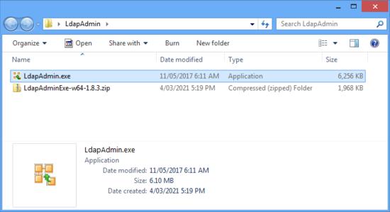 Загрузите и распакуйте файл LdapAdmin.exe.