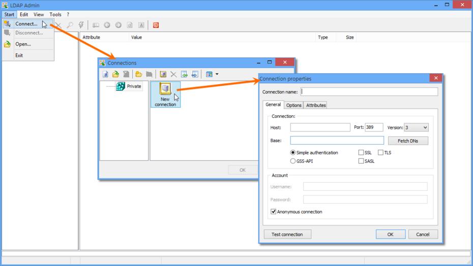 Создание нового соединения с помощью утилиты LDAP Admin.
