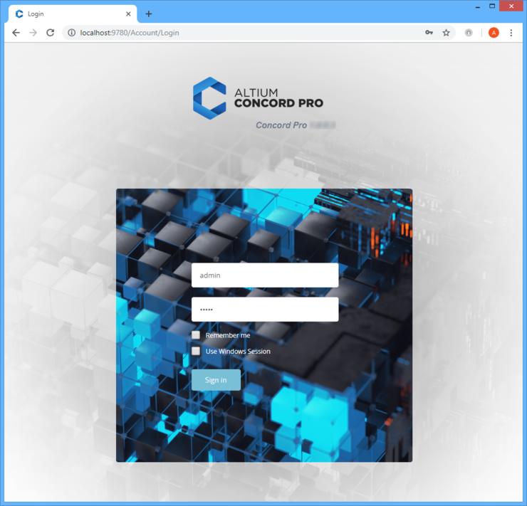 Войдите в установленную копию Altium Concord Pro через веб-интерфейс.