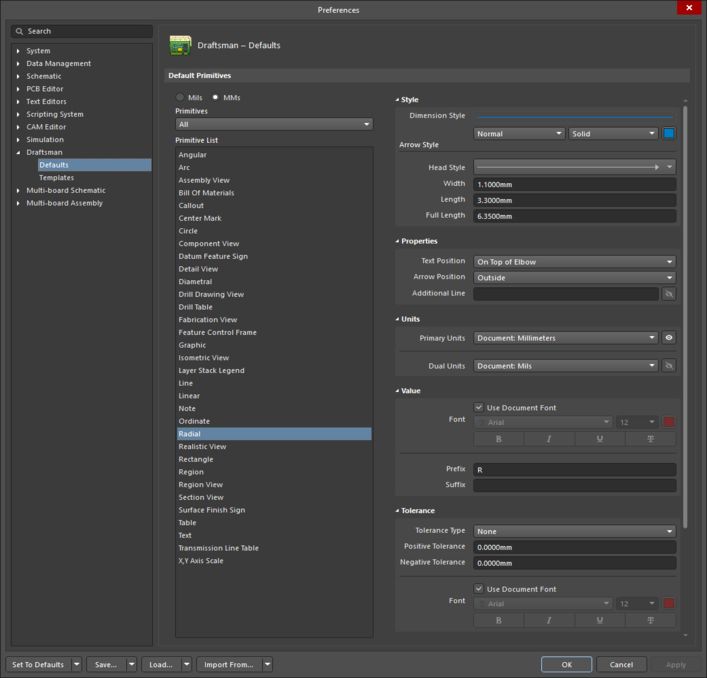 The Radial Dimension default settings in the Preferences dialog, and the Radial Dimension mode of the Properties panel