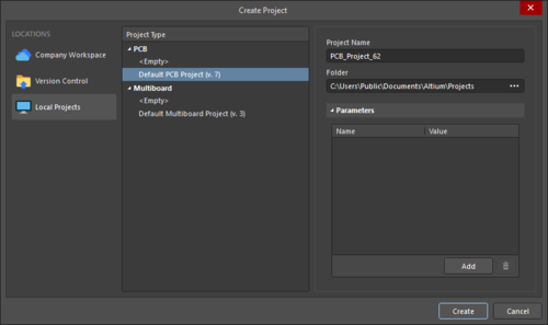 The Create Project dialog when creating a Local Project