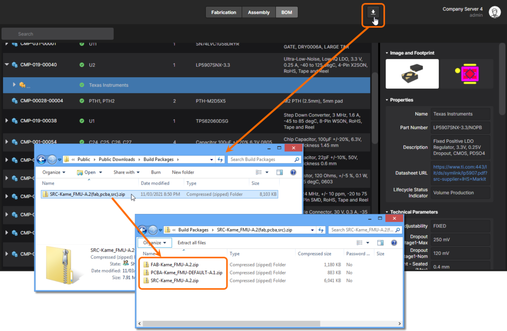 Example showing a downloaded Build Package for a project release currently being inspected through the Manufacturing Portal.