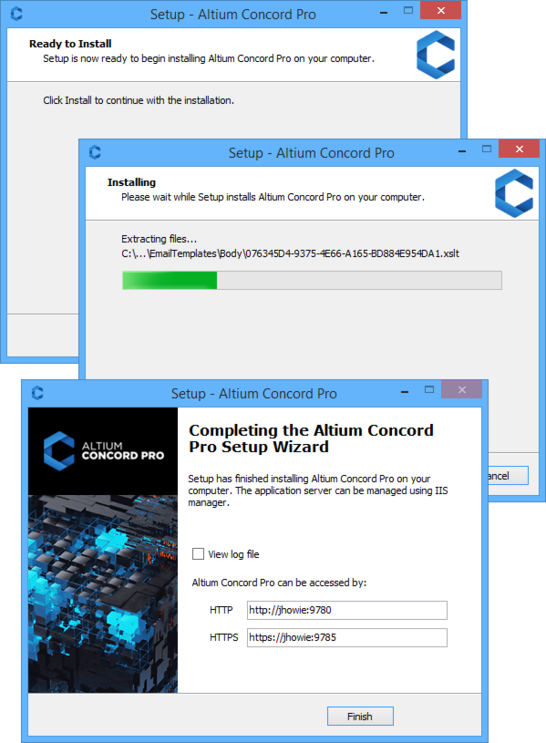 Kick off the installation by clicking Install. Click Finish once the installation is complete.