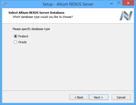 Select the type of database for the server's back-end.