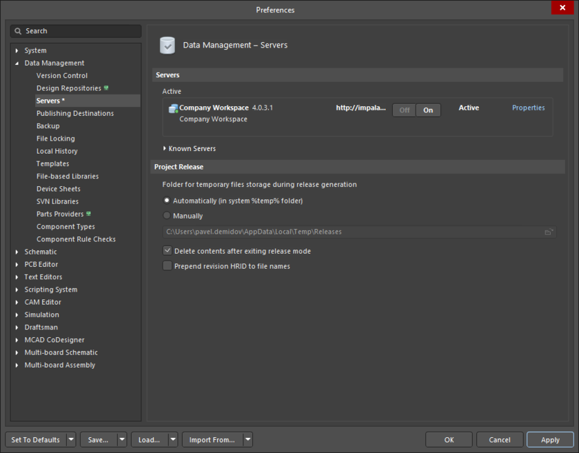 The Data Management – Servers page of the Preferences dialog