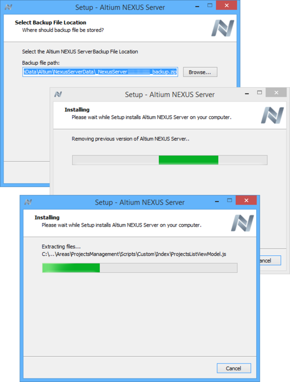 When updating to a later version of the server, a backup of your data will be made, before the old server is removed, and the new one installed.