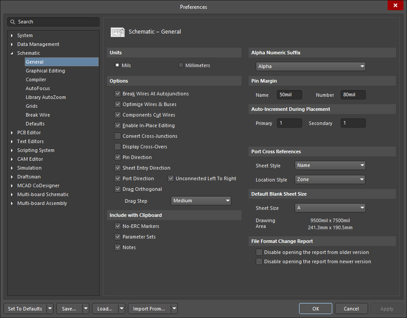 The Schematic – General page of the Preferences dialog