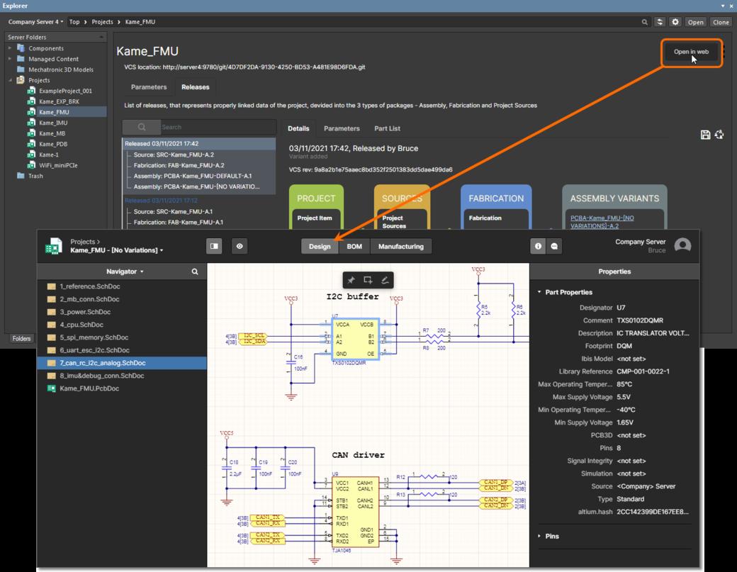 Доступ к странице Projects Management проекта через панель Explorer в Altium Designer. Функциональность Web Review отображена в представлении Design страницы.