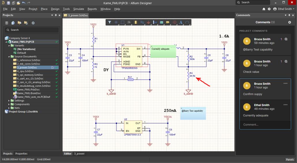 Комментарии, созданные через интерфейс Web Review, появятся непосредственно в Altium Designer.