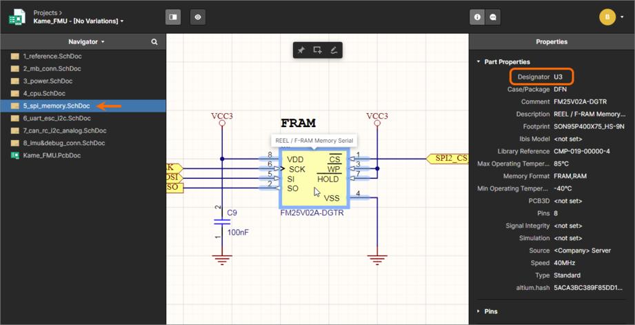Пример работы перекрестного перехода. Здесь компонент U3 выделен в исходном документе схемы. Наведите курсор мыши на изображение, чтобы увидеть результат перекрестного перехода, где соответствующий компонент U3 выделяется в документе платы.