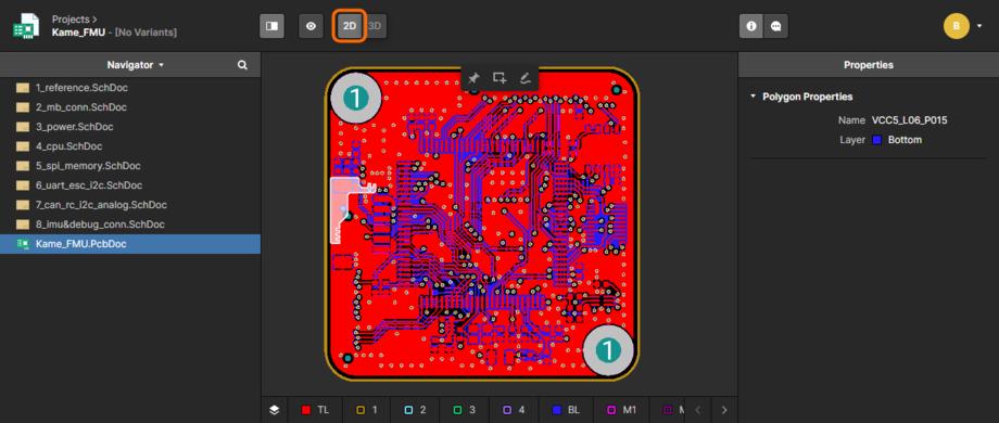 Документ платы отображается по умолчанию в 2D-режиме, как показано здесь. Используйте выделенный элемент управления для быстрого переключения в 3D-режим отображения. Наведите курсор мыши на изображение, чтобы увидеть результат и элемент управления, который можно использовать для возвращения в 2D-режим отображения.