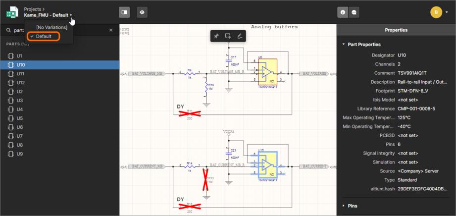 Интерфейс может быть использован для проверки вариантов. По умолчанию отображается базовый проект ([No Variations], показан здесь). Используйте выделенный элемент управления для переключения на другой вариант.