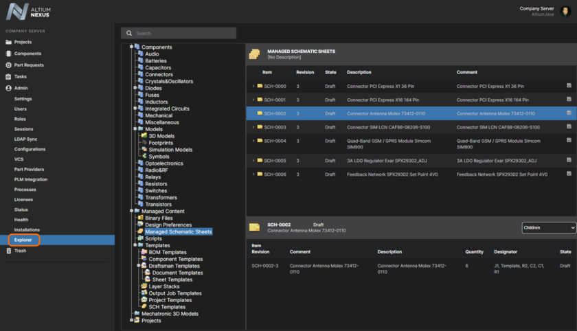 Access content in your Altium NEXUS Server through the Explorer area of the browser interface.