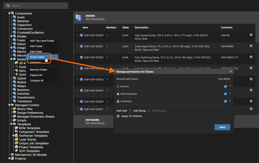 Configure folder-level sharing from the NEXUS Server's browser interface. Hover the mouse over the image to see how to configure Item-level sharing through the interface.