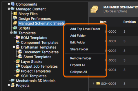 Access folder structure management commands from the right-click menu.