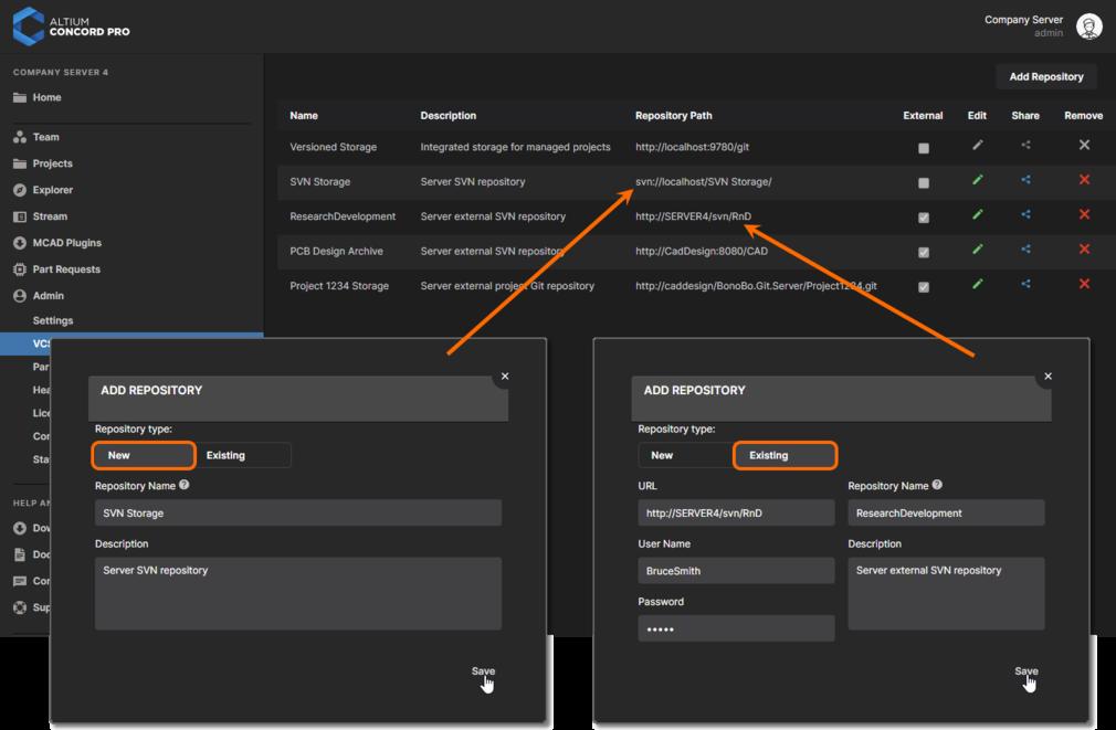 Создайте новый репозиторий с помощью локальной службы Version Control в Altium Concord Pro или подключите существующий репозиторий (SVN или Git), который был создан вне Altium Concord Pro.