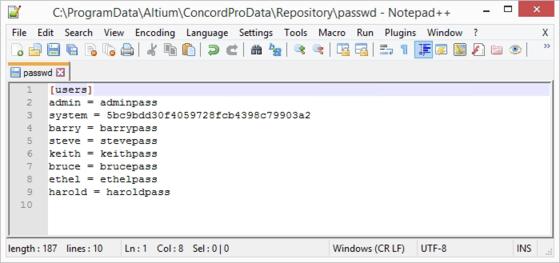 В установке Altium Concord Pro по умолчанию, учетные данные пользователя хранятся службой Version Control в соответствующем файле passwd.