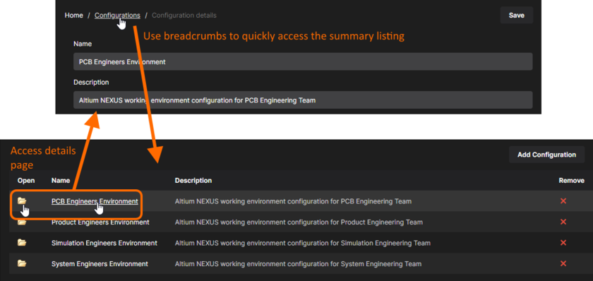 Use the breadcrumbs to switch back to the summary page for currently defined configurations. Click a configuration's name, or the associated folder icon, to switch back to the Configuration details view.