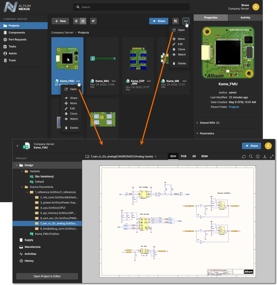 Accessing the CAD-centric Projects Management page for a project from the Projects page. The Web Viewer interface is presented through the page's Design view.