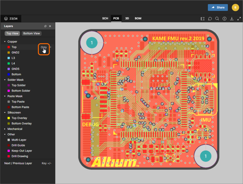 The PCB data view supports single layer mode. Here, access to the Only control is shown.