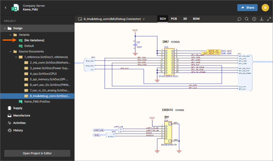 By default, the base design ([No Variations]) will be presented (shown here in the SCH data view). Use the controls in the left-hand navigation pane to switch to a different variant.