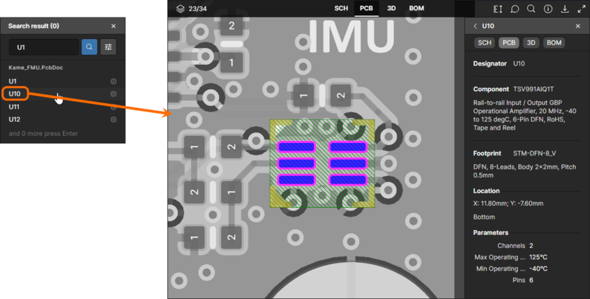 Shown here is the result of searching for a component within the active PCB data view, and also searching for a net within the active SCH data view.