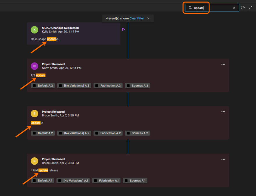 Example search of a project's history. The timeline is dynamically filtered as you type your (case insensitive) search term, with matching entries highlighted within each relevant event tile.