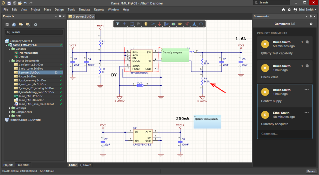 Any comments made through the Web Review interface will appear directly in Altium Designer.