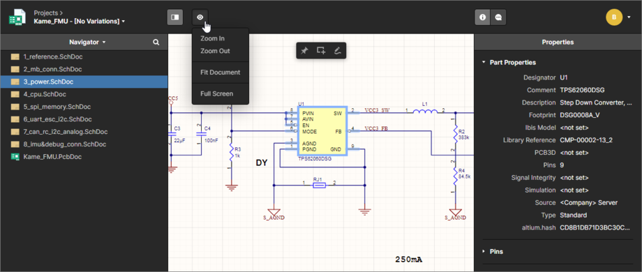 The Navigator pane presents the schematic and PCB documents for your design project and is where you come to select which document to analyze next.