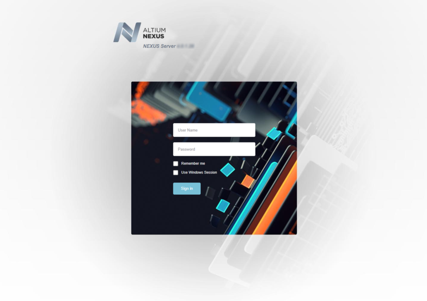 Access the NEXUS Server and its associated platform services through a preferred external Web browser. Hover over the image to see the effect of successfully signing in to the interface.
