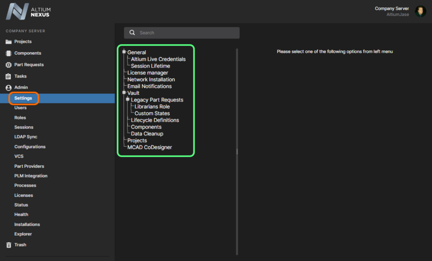 The Settings area - part of the admin-only pages within the NEXUS Server's browser interface.