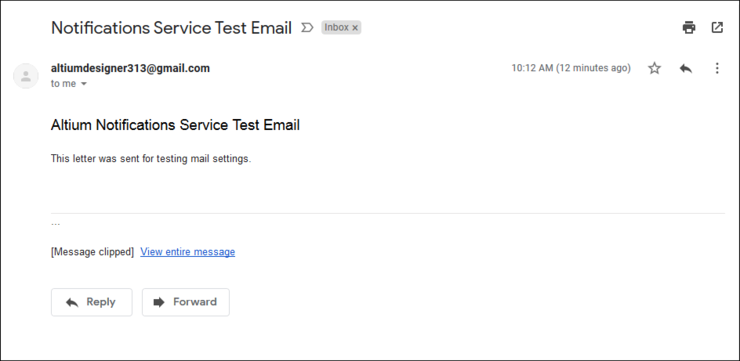 Test email from Altium Concord Pro's notifications service, as received by the target email supplied for the check.