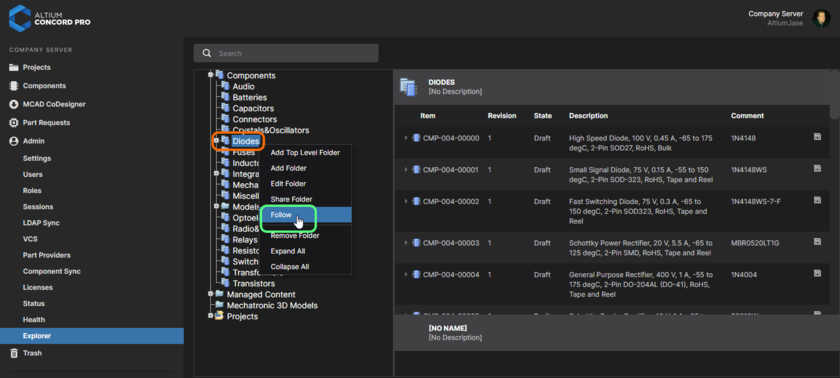 Accessing the control to Follow a component folder, and therefore all activity for components created therein.