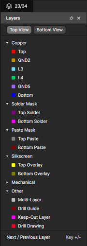 The Layers pane for controlling layer visibility.