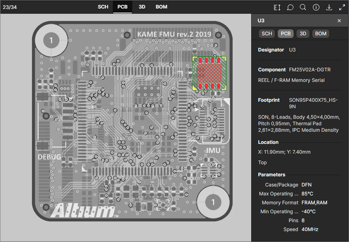 The PCB data view supports the selection of components, pads, vias, track segments and nets. Here, a selected component is shown.