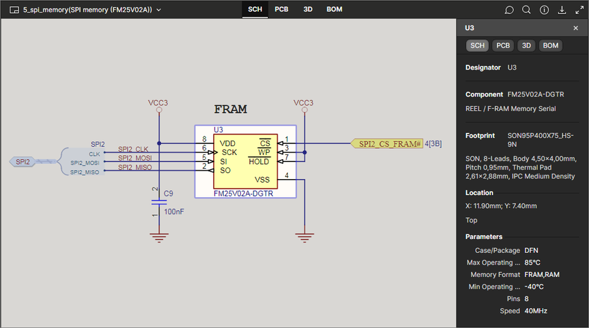 The SCH data view supports the selection of components and nets. Here, a selected component is shown.