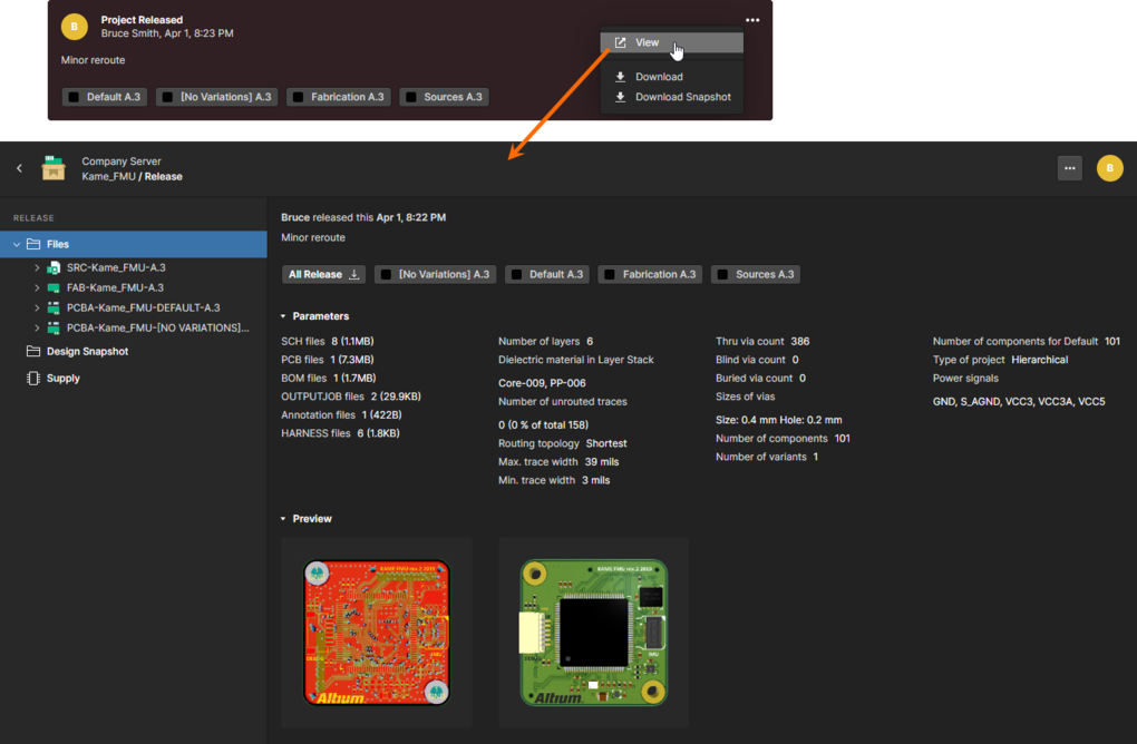 Accessing the dedicated Manufacturing Portal tab, with which to more closely inspect the release of the project.