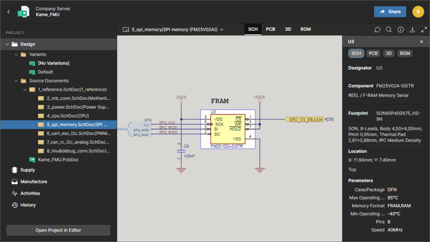 The Design view utilizes Altium's Web Viewer functionality to provide an immersive and interactive experience for reviewing the source schematic and PCB documents in your design project. Shown here is a schematic with a component selected – hover over the image to see the PCB.