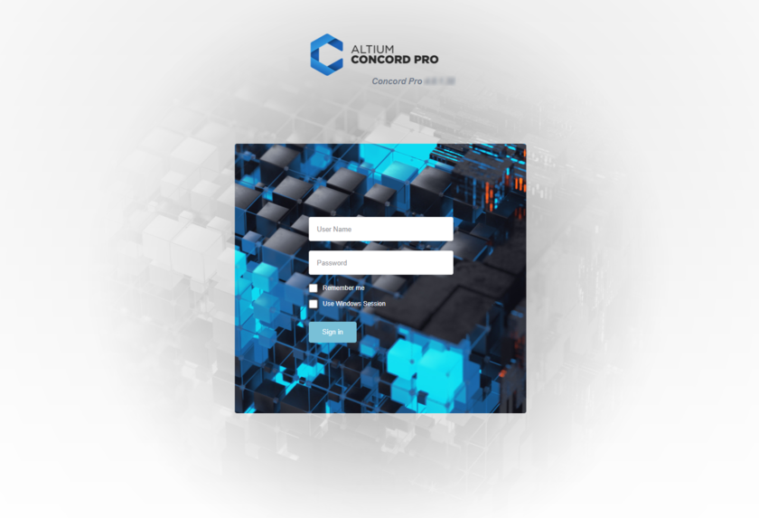 Access Altium Concord Pro and its associated platform services through a preferred external Web browser. Roll the mouse over the image to see the effect of successfully signing in to the interface.