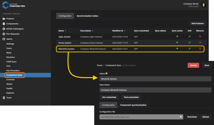 Add and configure the interface to your company's enterprise system. With a valid connection you can schedule synchronization of components between that system and your Concord Pro instance.
